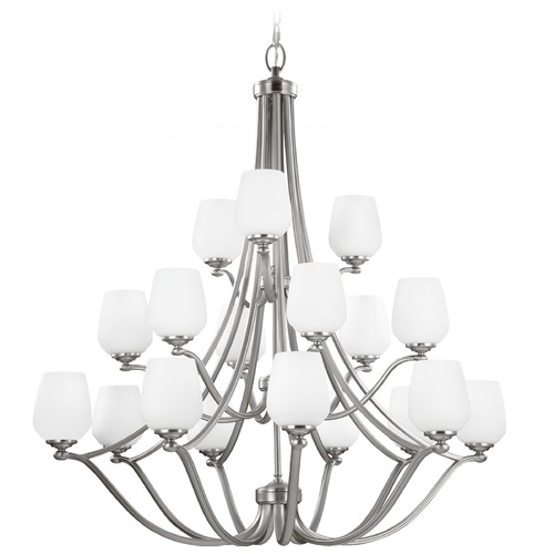 Feiss Lighting Feiss Vintner 3-Tier 18-Light Chandelier in Satin Nickel F2962/9+6+3SN