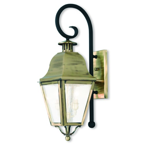 Livex Lighting Seeded Glass Outdoor Wall Light Brass Livex Lighting 2551-01