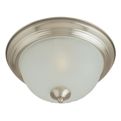 Maxim Lighting Flushmount Light with White Glass in Satin Nickel Finish 5832FTSN