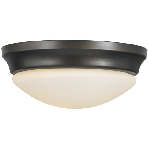 Home Solutions by Feiss Lighting Modern Flushmount Light with White Glass in Oil Rubbed Bronze Finish FM271ORB