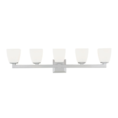 Hudson Valley Lighting Modern Bathroom Light with White Glass in Satin Nickel Finish 6205-SN