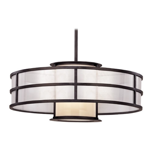 Troy Lighting Pendant Light with White Glass in Graphite Finish FF2736