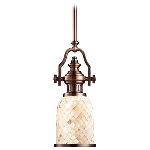 Elk Lighting Vintage / Industrial Style Mini-Pendant Light with Mosaic Glass 66442-1