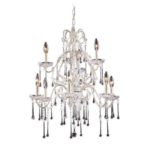 Elk Lighting Crystal Chandelier in Antique White Finish 4003/6+3CL