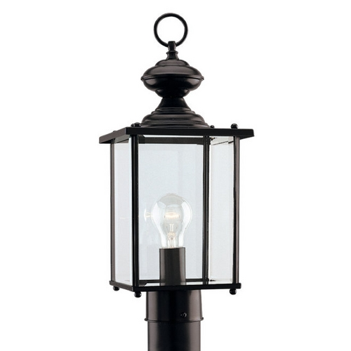 Sea Gull Lighting Post Light with Clear Glass in Black Finish 8257-12