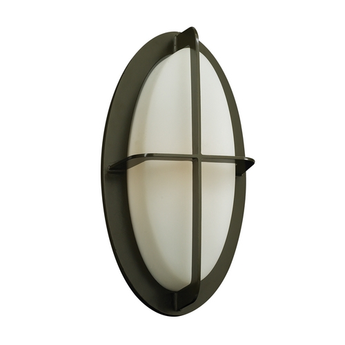 PLC Lighting Modern Outdoor Wall Light with White Glass in Bronze Finish 8016  BZ
