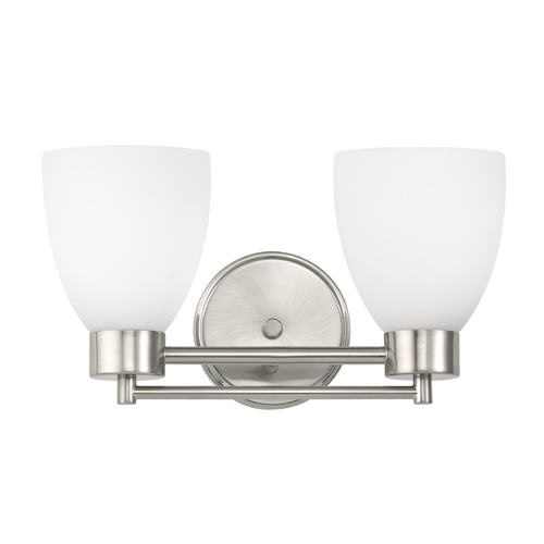 Design Classics Lighting Modern Bathroom Light with White Glass in Satin Nickel Finish 702-09 GL1028MB