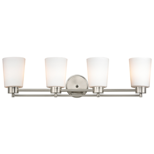 Design Classics Lighting Modern Bathroom Light with White Glass in Satin Nickel Finish 704-09 GL1027