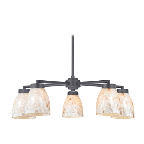 Design Classics Lighting Chandelier with Mosaic Glass in Black Finish - Five Lights 590-07 GL1026MB