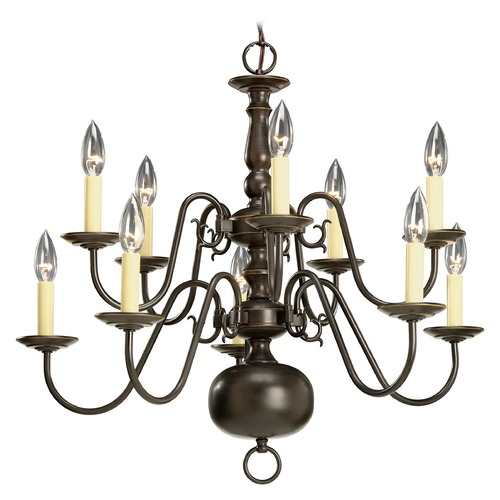 Progress Lighting Progress Two Tier Colonial Bronze Chandelier with Ten Lights P4358-20
