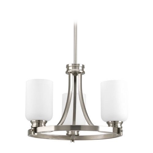 Progress Lighting Progress Chandelier with White Glass in Brushed Nickel Finish P3954-09