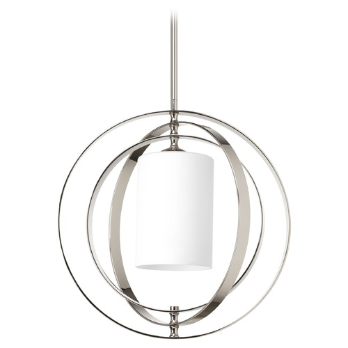 Progress Lighting Modern Pendant Light with White Glass in Polished Nickel Finish P7078-104