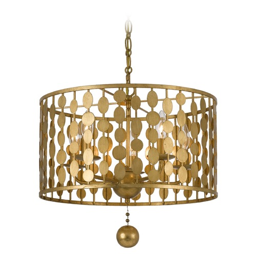 Crystorama Lighting Crystorama Lighting Layla Antique Gold Pendant Light 545-GA