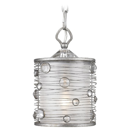 Golden Lighting Golden Lighting Joia Peruvian Silver Mini-Pendant Light with Cylindrical Shade 1993-M1L PS