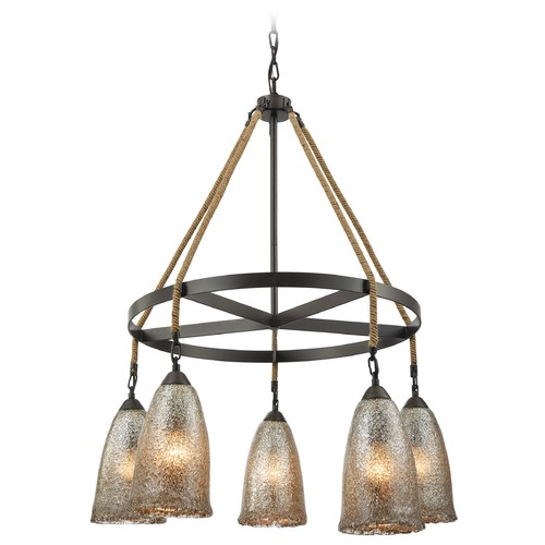 Elk Lighting Mercury Glass Chandelier Oil Rubbed Bronze Elk Lighting 10438/5CH