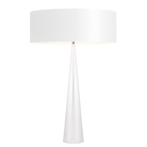 Sonneman Lighting Sonneman Big Table Cone Gloss White Table Lamp with Drum Shade 6140.60W