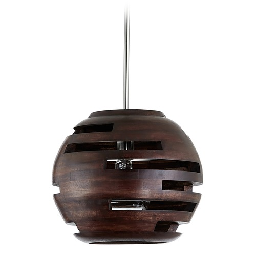Capital Lighting Capital Lighting Dalton 1-Light Dark Wood and Polished Nickel Pendant Light 339912DN