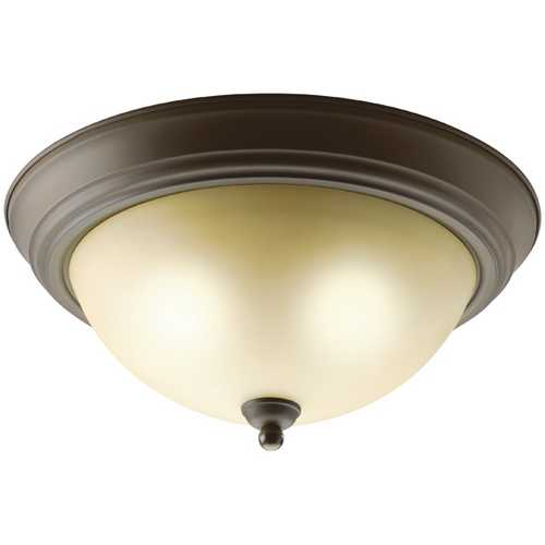 Kichler Lighting Kichler Flushmount Light with Brown Glass in Olde Bronze Finish 8109OZ