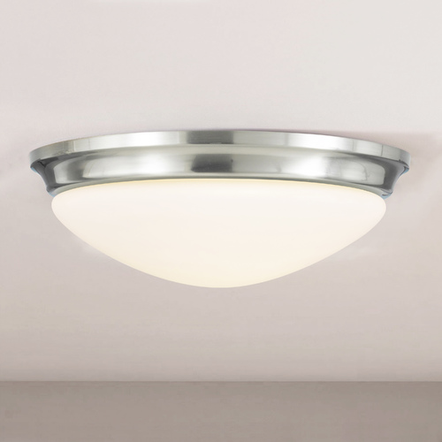 Sea Gull Lighting Modern Flushmount Light with White Glass in Brushed Steel Finish FM272BS