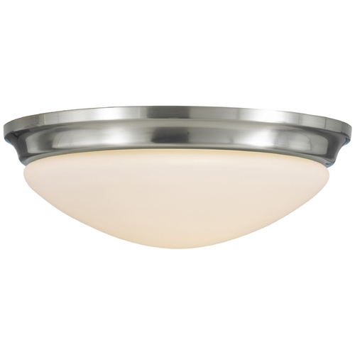 Feiss Lighting Modern Flushmount Light with White Glass in Brushed Steel Finish FM272BS