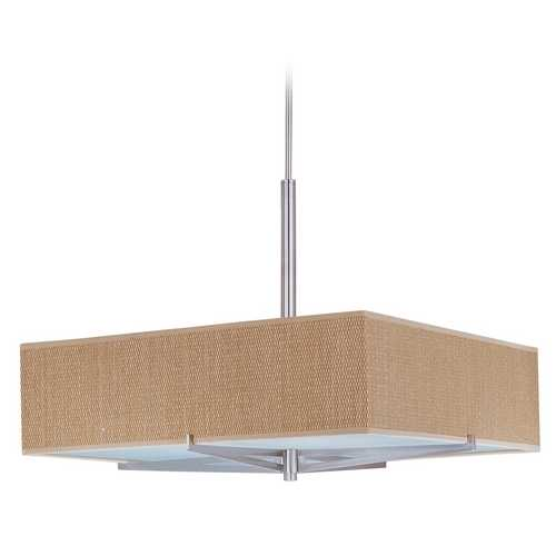 ET2 Lighting Modern Pendant Light with Brown Shades in Satin Nickel Finish E95348-101SN