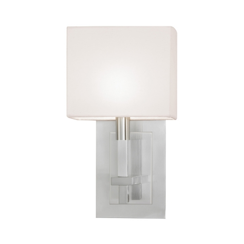 Sonneman Lighting Modern Sconce Wall Light with White Shade in Satin Nickel Finish 4435.13