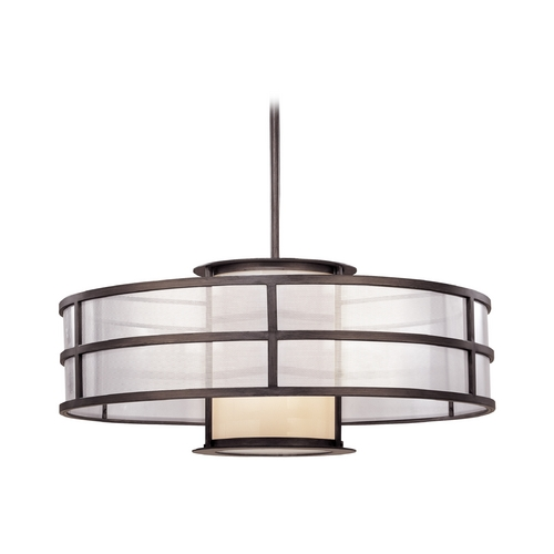 Troy Lighting Pendant Light with White Glass in Graphite Finish FF2737