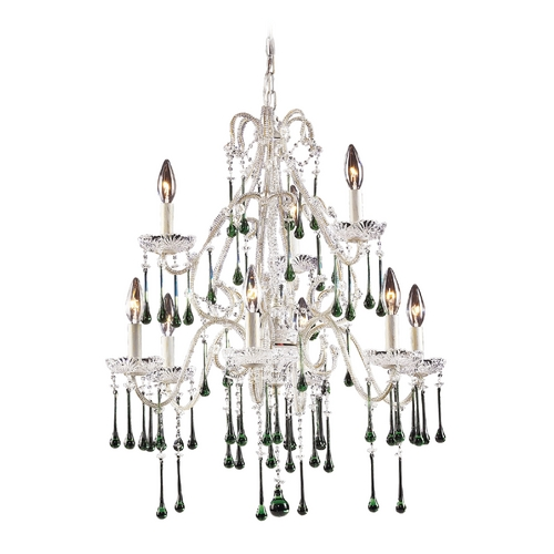 Elk Lighting Crystal Chandelier in Antique White Finish 4003/6+3LM
