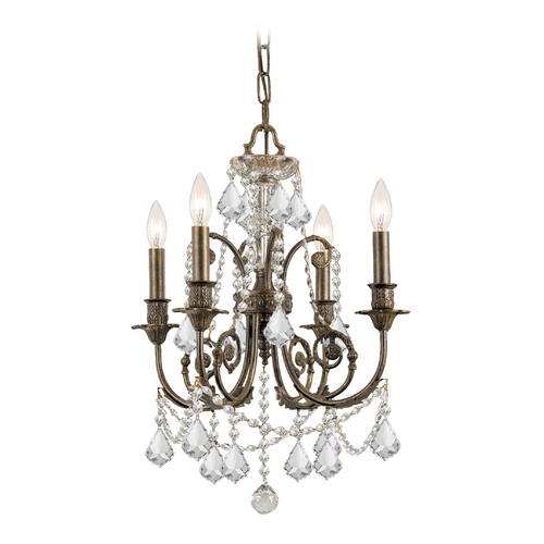 Crystorama Lighting Crystal Mini-Chandelier in English Bronze Finish 5114-EB-CL-MWP