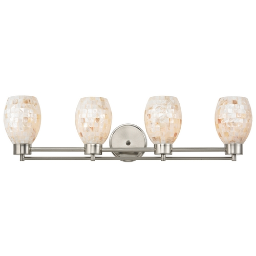 Design Classics Lighting Bathroom Light with Mosaic Glass in Satin Nickel Finish 704-09 GL1034
