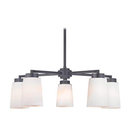 Design Classics Lighting Modern Chandelier with Five Lights and White Glass in Black Finish 590-07 GL1027