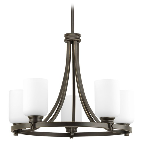 Progress Lighting Progress Chandelier with Ring Design Bronze Finish White Glass P4659-20