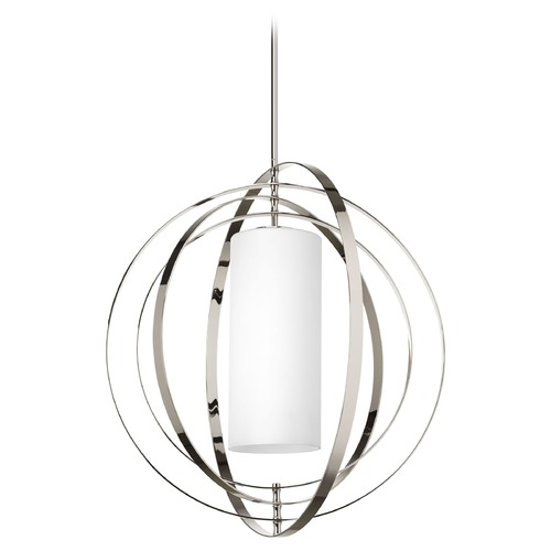 Progress Lighting Modern Pendant Light with White Glass in Polished Nickel Finish P7086-104