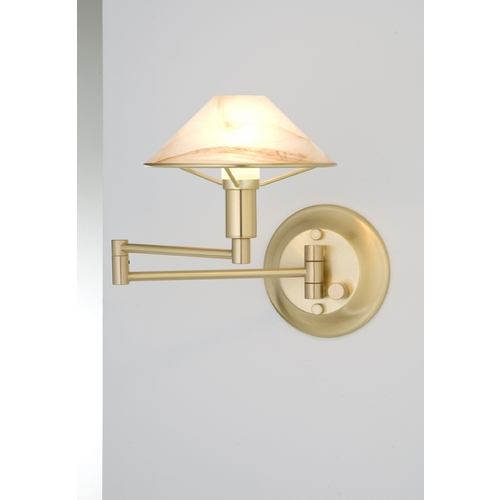Holtkoetter Lighting Holtkoetter Modern Swing Arm Lamp with Alabaster Glass in Brushed Brass Finish 9426 BB ABR