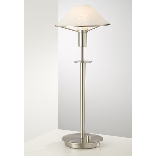 Holtkoetter Lighting Holtkoetter Modern Table Lamp with White Glass in Satin Nickel Finish 6514 SN SW