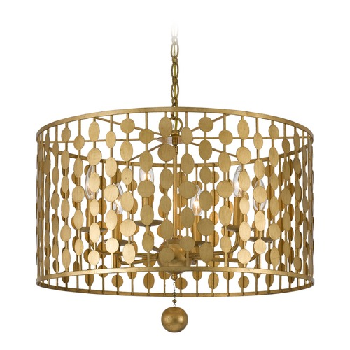 Crystorama Lighting Crystorama Lighting Layla Antique Gold Pendant Light 546-GA