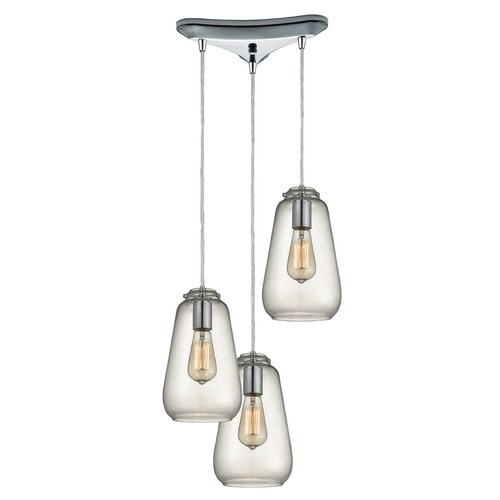 Elk Lighting Elk Lighting Orbital Polished Chrome Multi-Light Pendant with Bowl / Dome Shade 10423/3