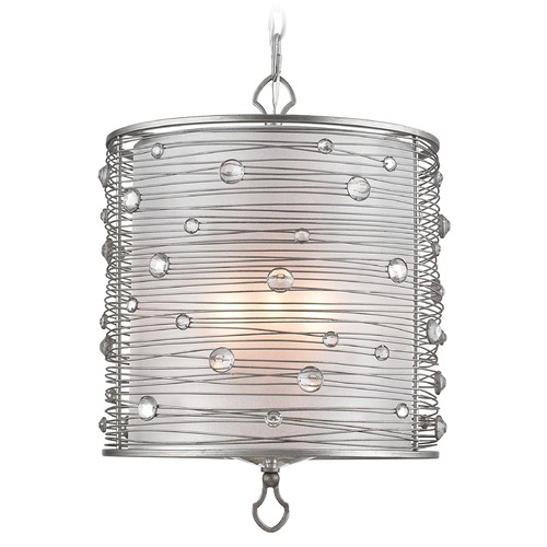 Golden Lighting Golden Lighting Joia Peruvian Silver Pendant Light with Cylindrical Shade 1993-3P PS