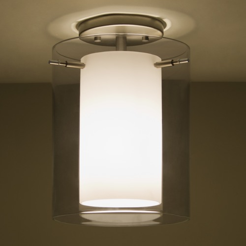 Besa Lighting Besa Lighting Pahu Satin Nickel LED Semi-Flushmount Light 1KM-S00607-LED-SN