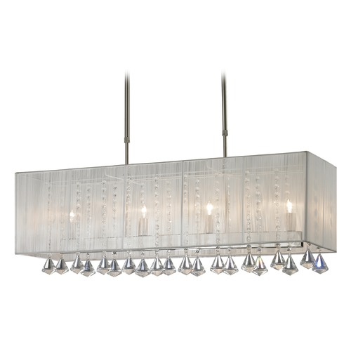 Z-Lite Z-Lite Aura Brushed Nickel Island Light with Rectangle Shade 891-34W