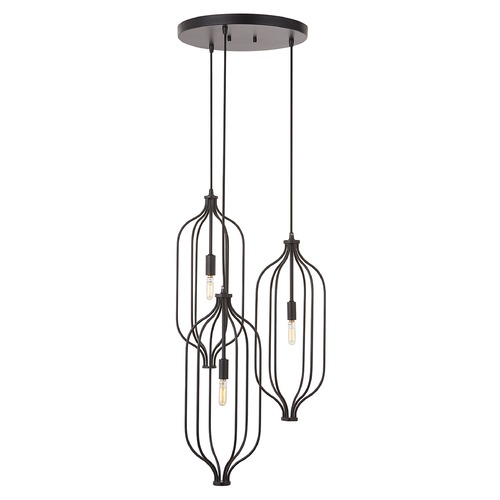 HomePlace by Capital Lighting Homeplace By Capital Lighting Nira Matte Black Multi-Light Pendant 333231MB