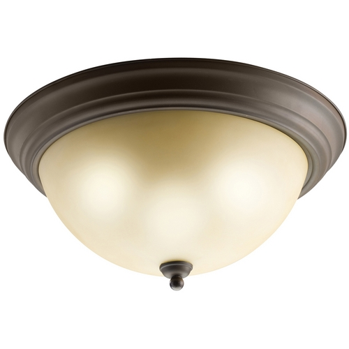 Kichler Lighting Kichler Flushmount Light with Brown Glass in Olde Bronze Finish 8110OZ