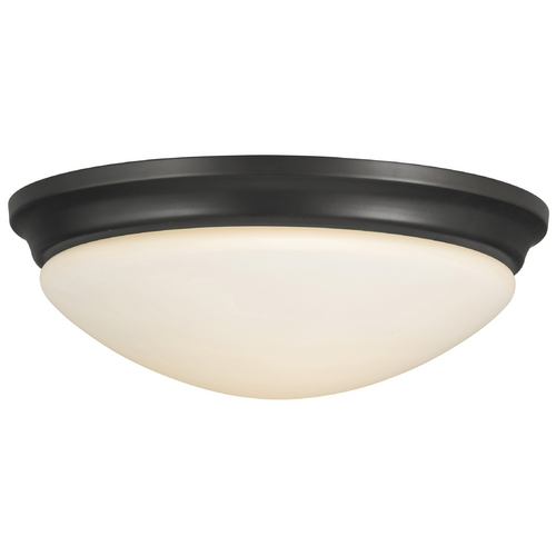 Sea Gull Lighting Modern Flushmount Light with White Glass in Oil Rubbed Bronze Finish FM272ORB