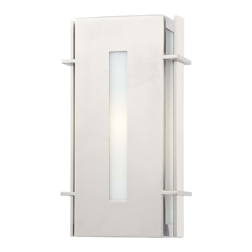 Minka Lavery Outdoor Wall Light with White Glass in Brushed Stainless Steel Finish 72122-144-PL