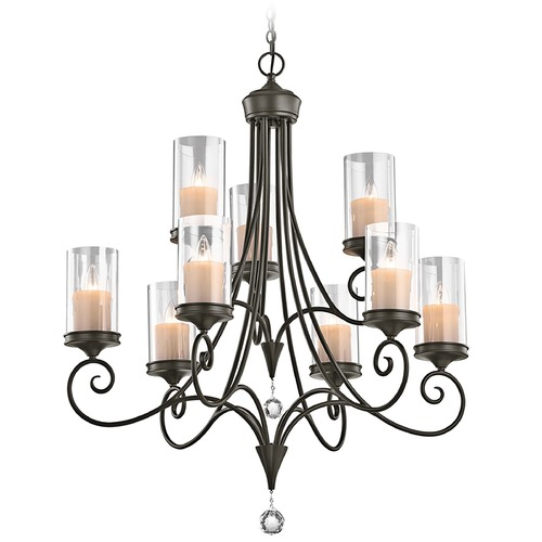 Kichler Lighting Kichler Chandelier with Clear Glass in Shadow Bronze Finish 42863SWZ