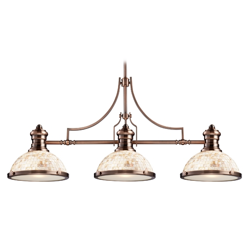 Elk Lighting Island Light with Beige / Cream Glass in Antique Copper Finish 66445-3