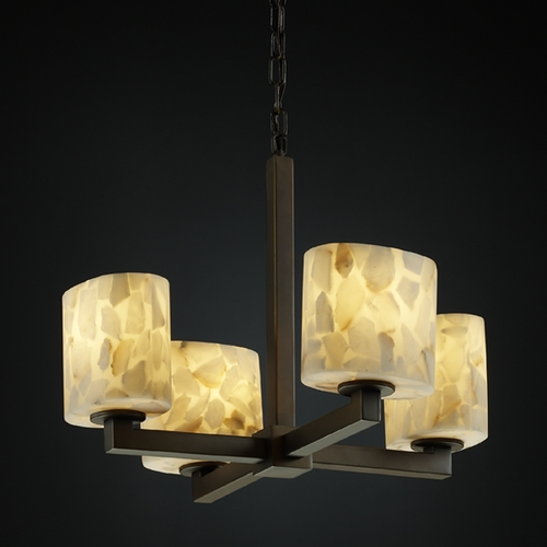 Justice Design Group Justice Design Alabaster Rocks! 4-Light Mini Chandelier in Dark Bronze ALR-8829-30-DBRZ