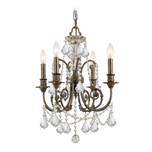 Crystorama Lighting Crystal Mini-Chandelier in English Bronze Finish 5114-EB-CL-S