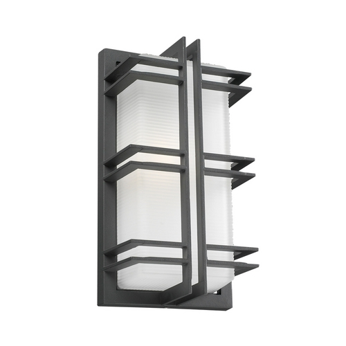 PLC Lighting Modern Outdoor Wall Light with White Glass in Bronze Finish 8012  BZ
