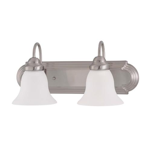 Nuvo Lighting Bathroom Light with White Glass in Brushed Nickel Finish 60/3278